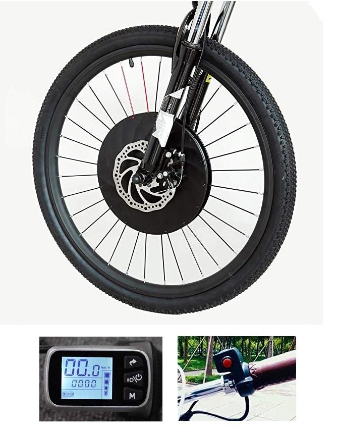 Controlador de motor a batería, todo en un juego de conversión en la rueda delantera de la bicicleta eléctrica 36 V 240 W con recargable USB teléfono soporte (Freno de disco Pantalla