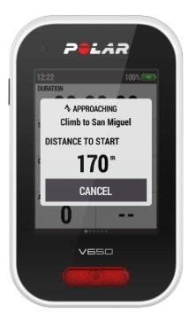 Strava Live Segments en el ciclocomputador GPS para bicicletas Polar V650