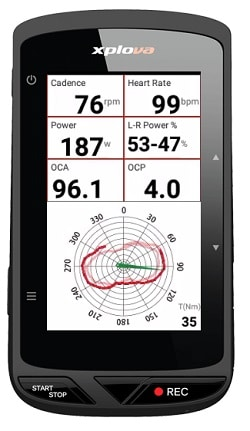 Vatios del GPS para bicicletas Xplova X5 Evo