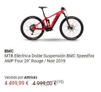 Oferta en bicicleta de montaña eléctrica de doble suspensión BMC