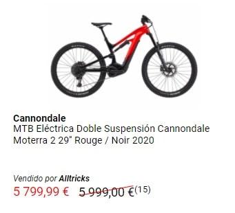 Oferta en bicicleta de montaña eléctrica de doble suspensión Cannondale