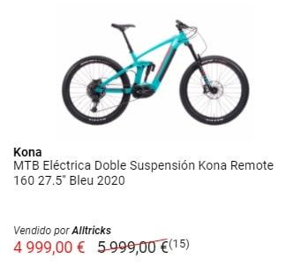 Oferta en bicicleta de montaña eléctrica de doble suspensión Kona